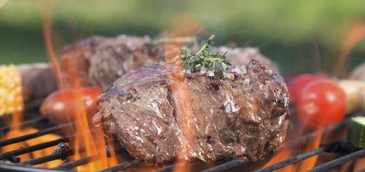 Beef steak on garden grill