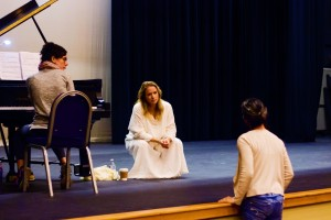 (L to R) Efrat Levy, Ronit Widmann-Levy and Ruth Sigalis in rehearsal for The Dybbuk