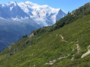 These trails wind around the mountain range overlooking Chamonix, France and in constant view of Mont Blanc. This environment makes one feel small – can you see the hikers on the trail?