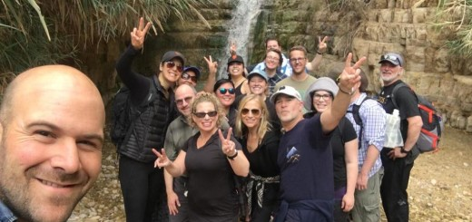 Ed (center, in green) and the JCC cohort at Ein Gedi