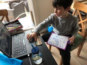 Shuli's son, Barak, learning Hebrew with Beged Kefet in April
