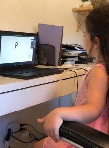 Shuli's daughter, Nili, taking her Kindergarten assessment on Zoom.
