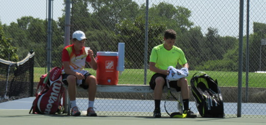 Thomas and Sam taking a water break during their match.
