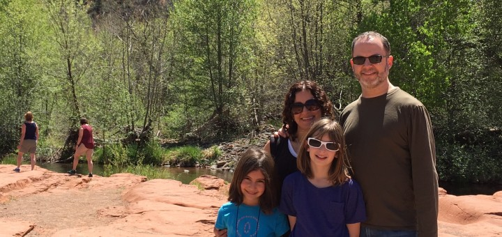 OFJCC Board Member Hilary Weisfeld and her family enjoying the outdoors.