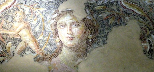 "The ""Mona Lisa of the Galilee"" portion of the Sepphoris Mosaic in  Zippori, Israel."