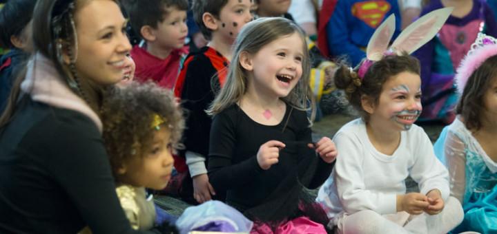 Preschoolers watch a Purim spiel at the OFJCC.