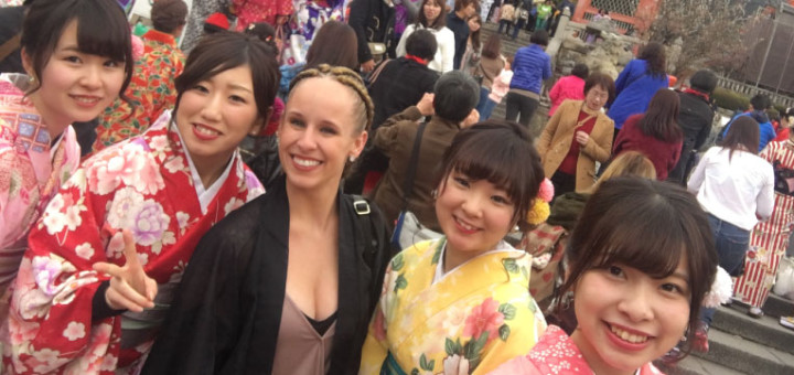 Lyndsey and others at a temple outside Kyoto