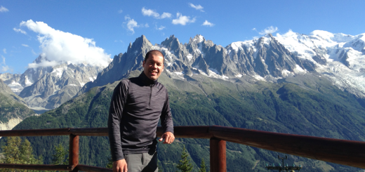Glenn enjoying the scenery above Chamonix, France, one of the typical starting points for the TMB hike.