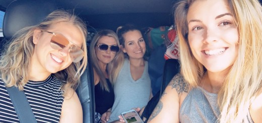 Yana (second from left) en route to the great outdoors with camping buddies.