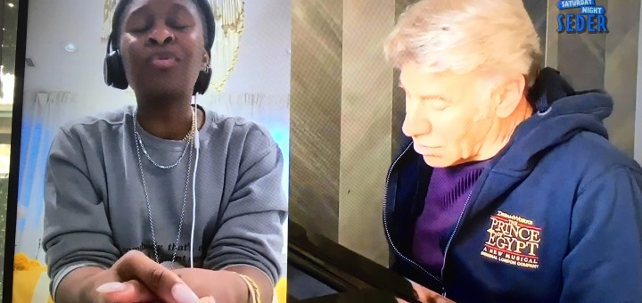 """Cynthia Erivo and Stephen Schwartz perform """"When You Believe"""" from the Prince of Egypt (Saturday Night Seder screenshot)"""