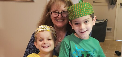 Gideon, 5 (left) and Jonah, 8 (right) dressed up for OFJCC J-Camp Colors Wars Day (pictured with their Savta Ruth)